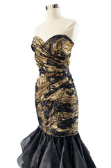 Fall 1988 Emanual Ungaro Strapelss Gold Metallic Black & Gold Ruffled Hem Dress
