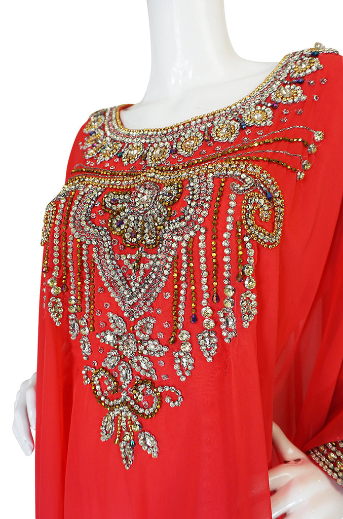 1960s Elaborate Crystal Covered Jewelled Red  Caftan Dress