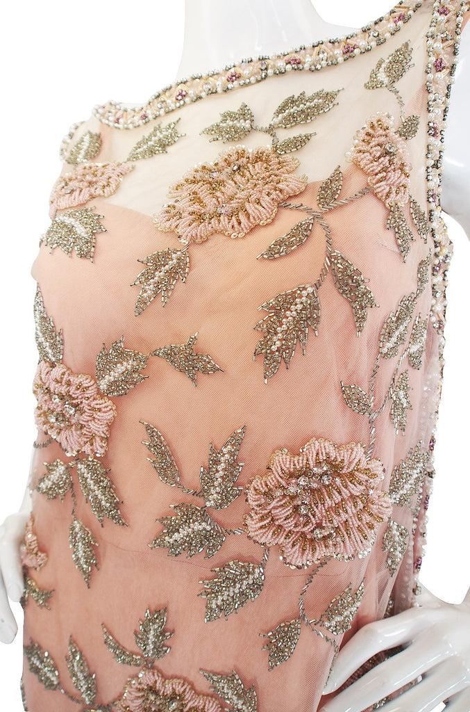 1960s French Hand Bead & Rhinestone Net Gown