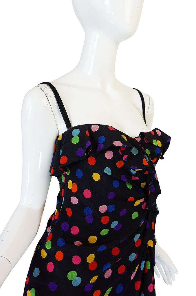 1990s Dolce & Gabbana D&G Silk Multi-Color Dot Dress