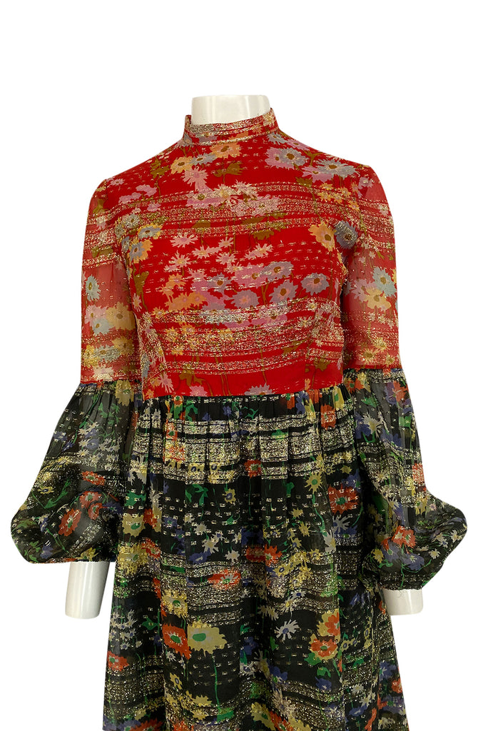 1960s Mollie Parnis Metallic Gold, Red & Black Floral Print Silk Dress