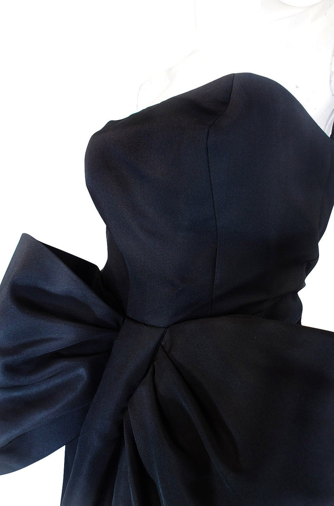 1980s Dramatic Black Strapless Bow Gown
