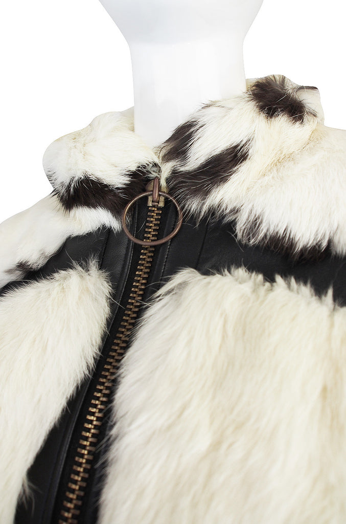 1970s Spotted Rabbit and Leather Fur Coat