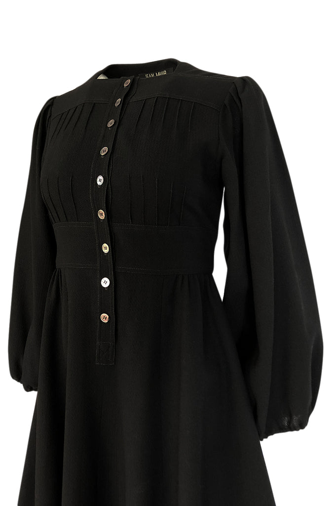 1970s Jean Muir Gorgeous Pin Tick Seamed Black Crepe Dress