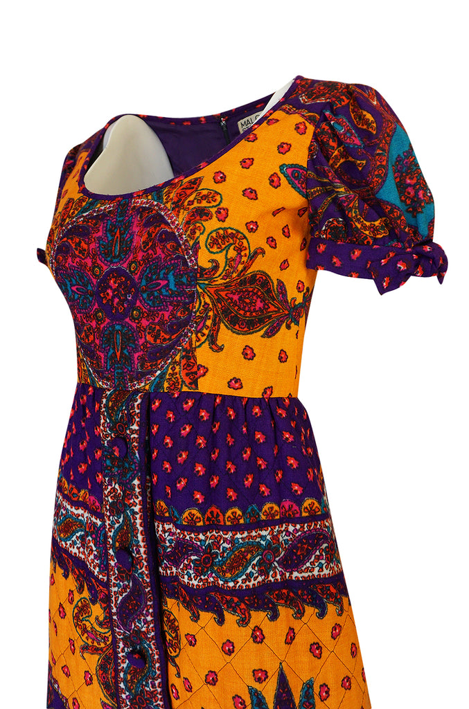 1970s Malcolm Starr Bold Print Dress with Quilted Skirt