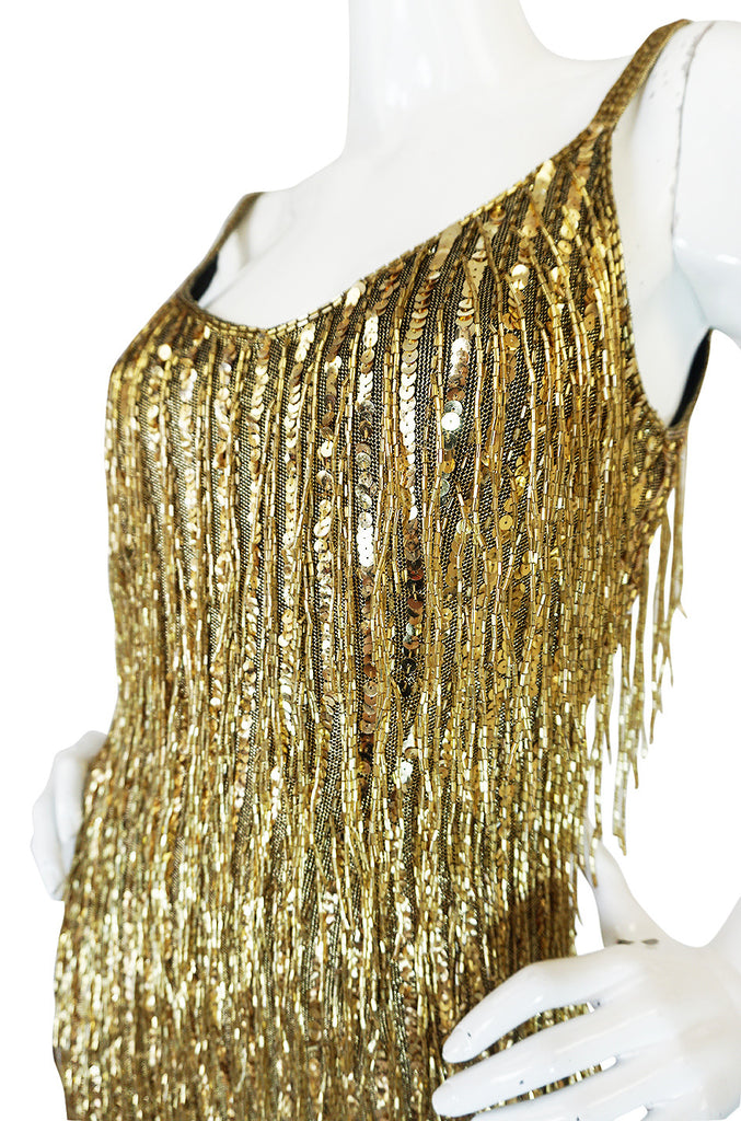 1980s Oleg Cassini Gold Beaded Spangle Fringe Dress