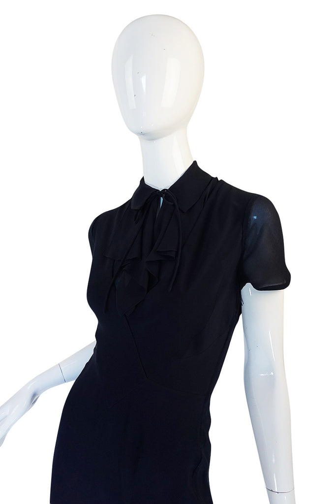 c1968 Guy Laroche Haute Couture Navy Silk Dress Ensemble