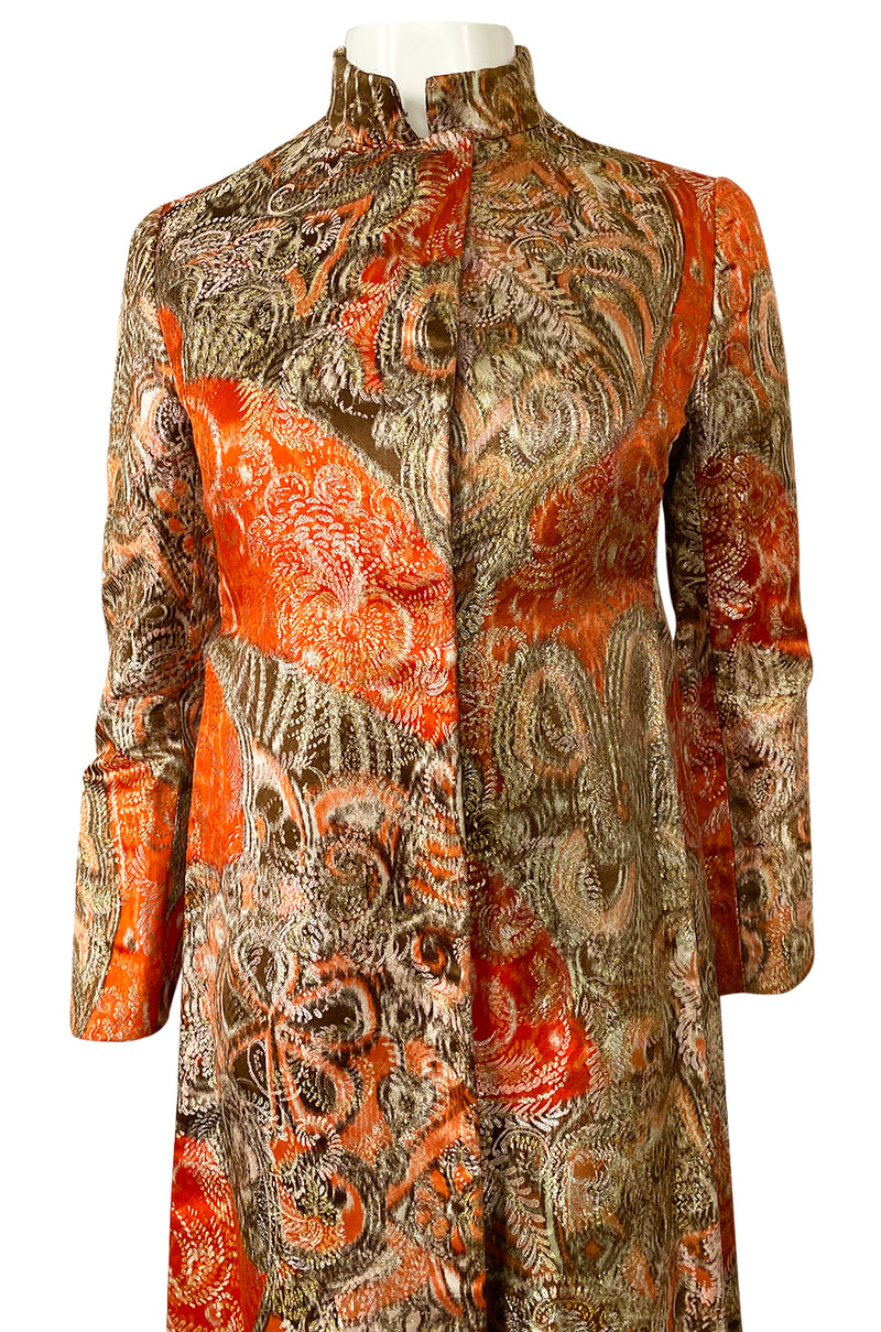 Unusual 1960s Bill Blass Open Panel Gold & Coral Metallic Coat
