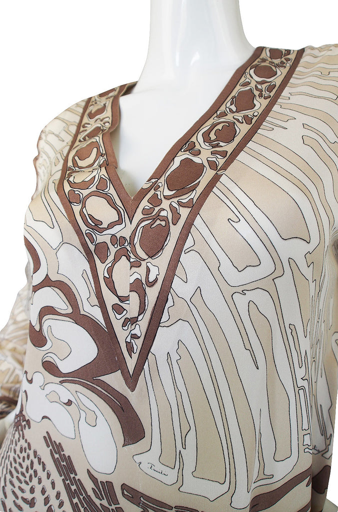 1960s Amazing Silk Jersey Pucci Caftan Dress