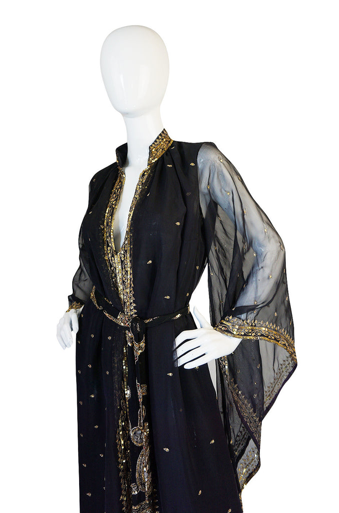 1960s Silk Chiffon & Gold Thread and Sequin Caftan