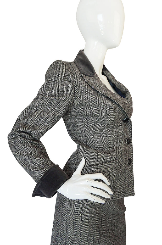 1980s Yves Saint Laurent Haute Couture Herringbone Suit