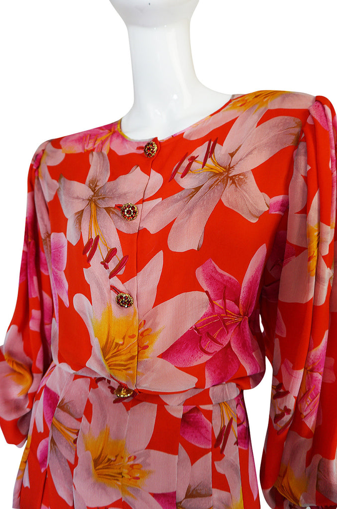 1980s Galanos Brilliant Floral Silk Chiffon Pant & Jacket Set