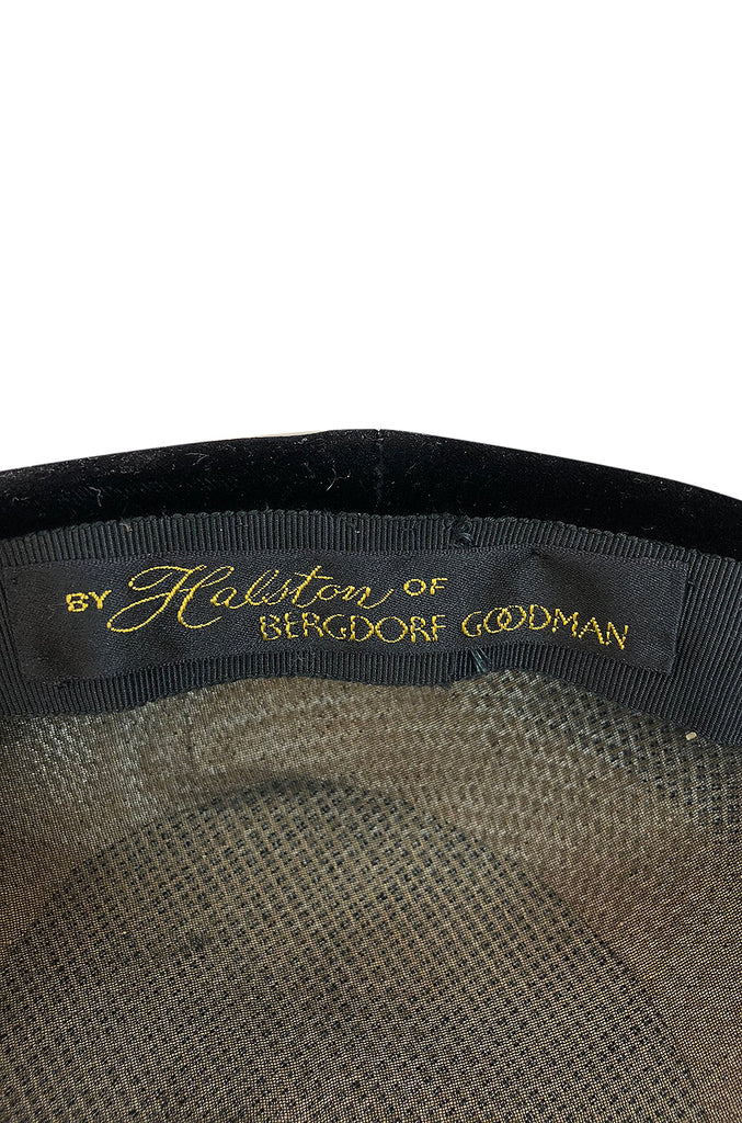 Rare c.1965 Halston for Bergdorf Goodman's Velvet Novelty Hat
