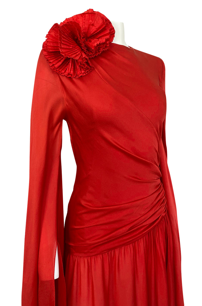 Rare 1970s Nina Ricci Haute Couture Trailing Angel Wing Sleeve Red Silk Dress