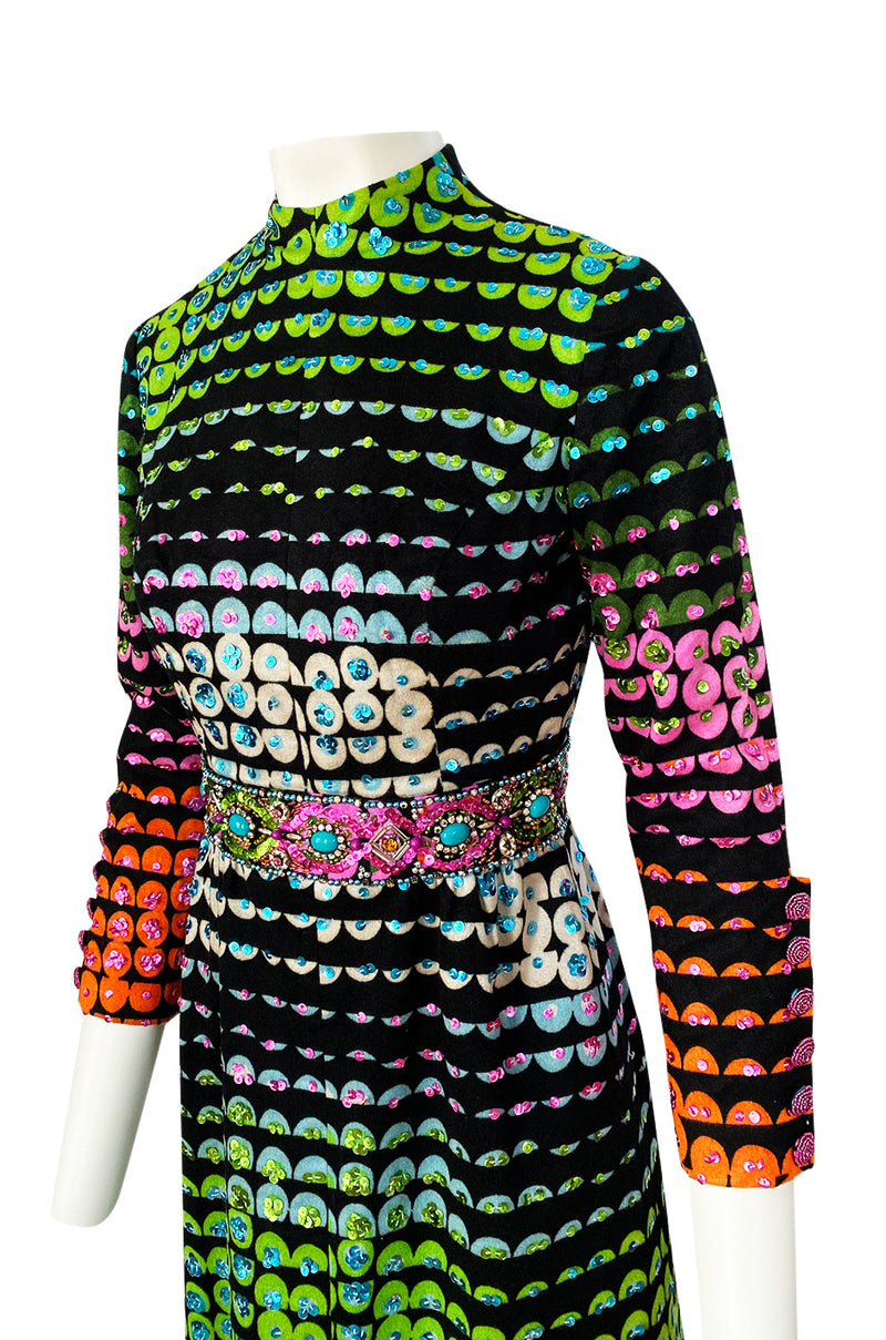 1970s Unlabeled Rainbow Colored Elaborate Sequin & Bead Detailed Dress