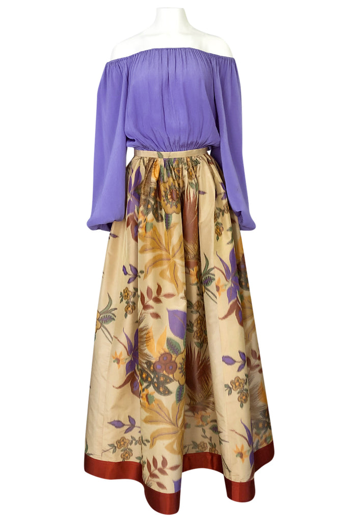 Spring 1978 Bill Blass Printed Silk Taffeta Skirt & Off Shoulder Silk Top Dress Set