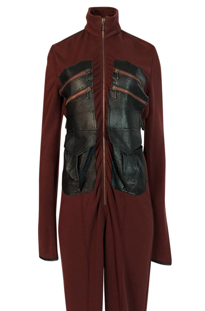 c.2002 Jean Paul Gaultier Leather Detailed Avant Garde Jumpsuit