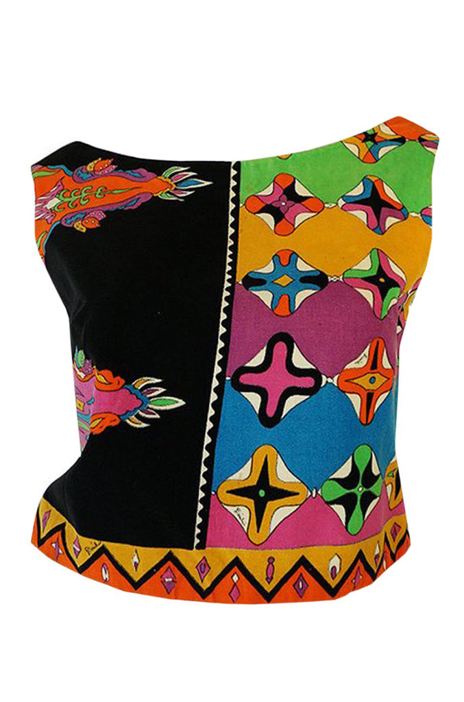 1960s Emilio Pucci Cross Print Multi-Color Sleeveless Cotton Velvet Top
