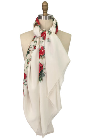 Huge Vintage Yves Saint Laurent Silk Red Rose Print Ivory Scarf