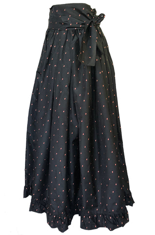 Incredible 1970s Yves Saint Laurent Embroidered Silk Taffeta Full Maxi Skirt