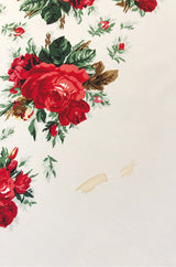 Huge 1970s Yves Saint Laurent Silk Red Rose Print Ivory Scarf