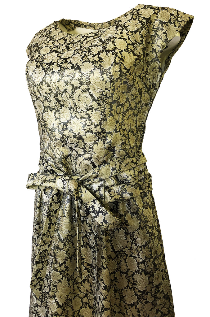 1950s Jeanne Lanvin by Castillo Haute Couture Metallic Brocade Dress