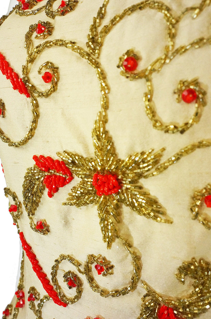 1950s Hand Beaded Silk Column Gown