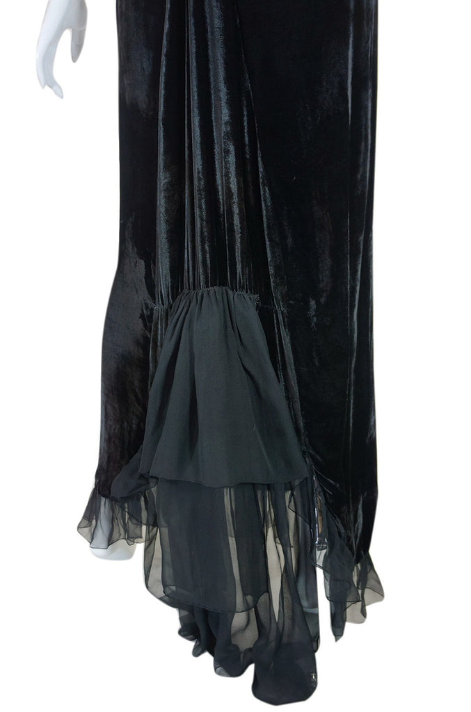 1920s Plunge Back Silk Velvet Bead Gown