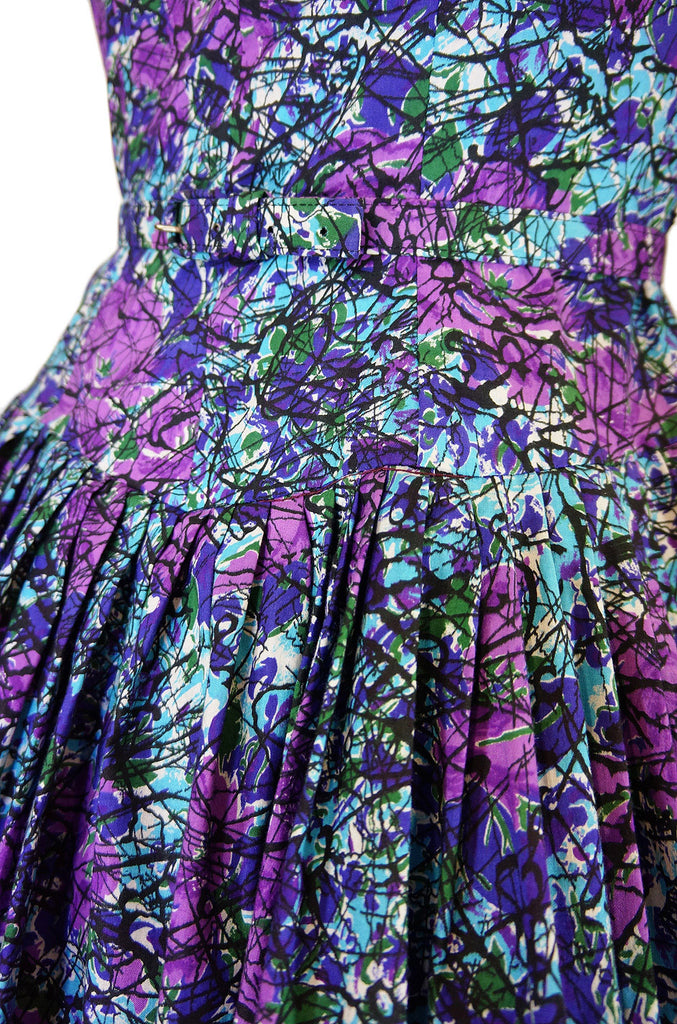 1950s Full Skirted Cotton Print Dress