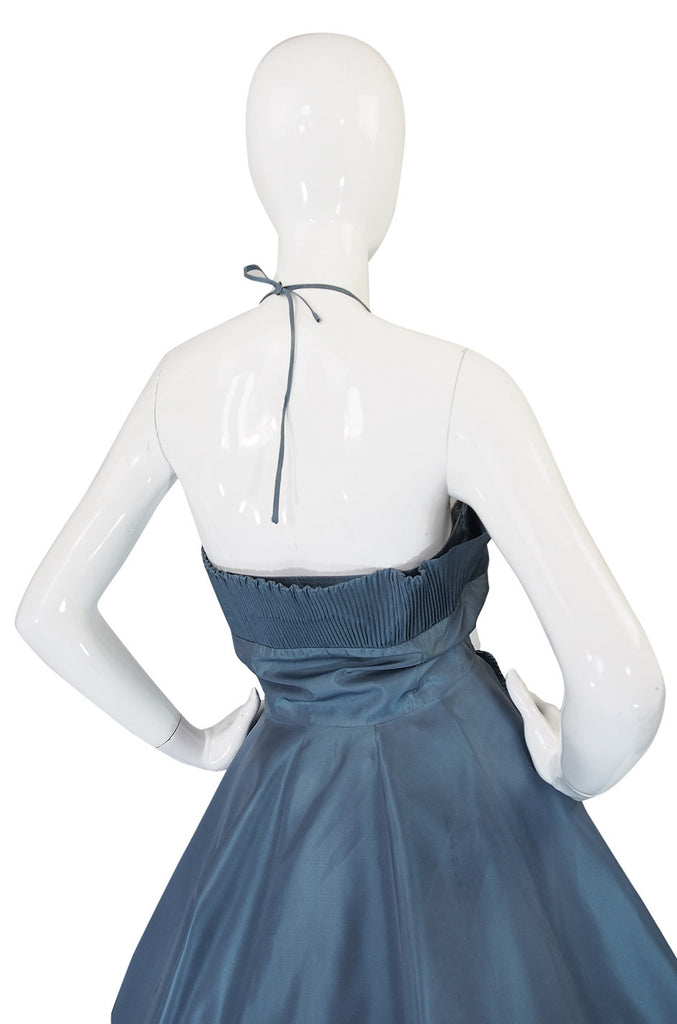 1950s Ice Blue Silk Taffeta Dress & Jacket