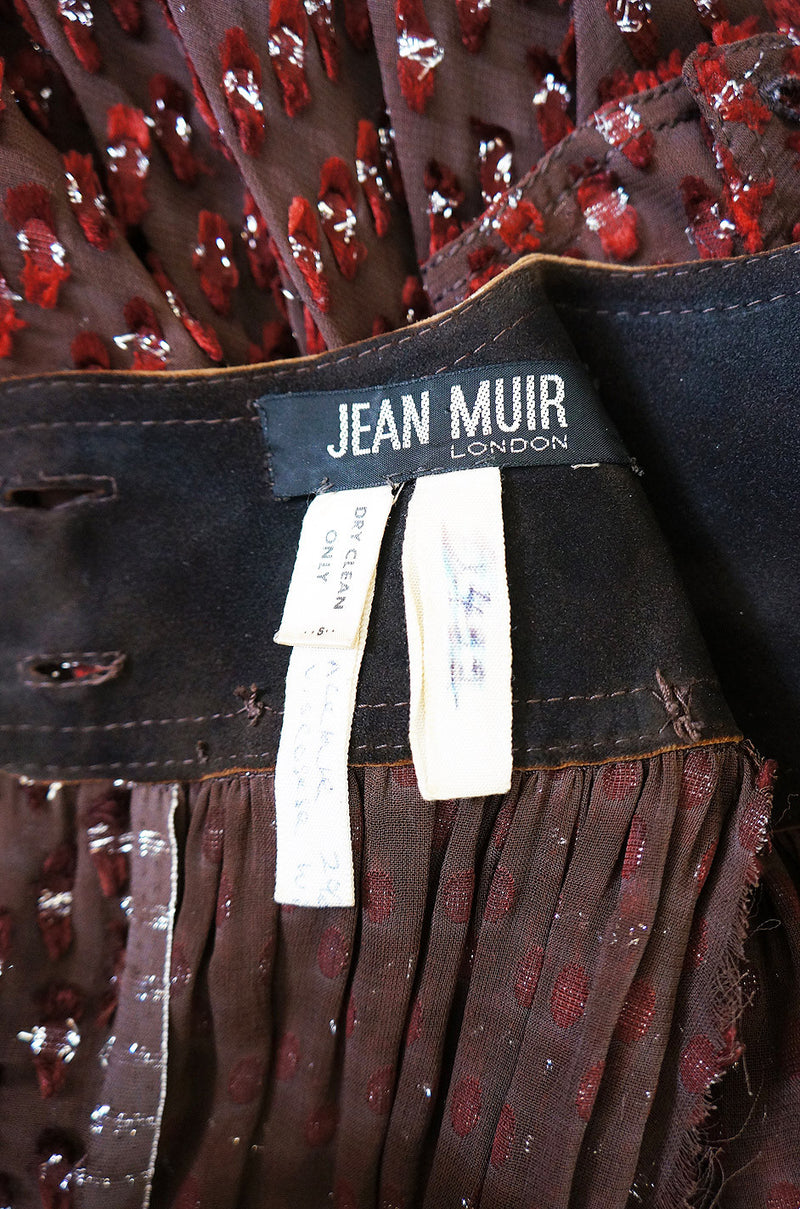 1970s Rare Silk & Suede Jean Muir Dress