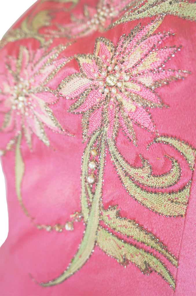 1960s Beaded Silk Satin Curiel Gown