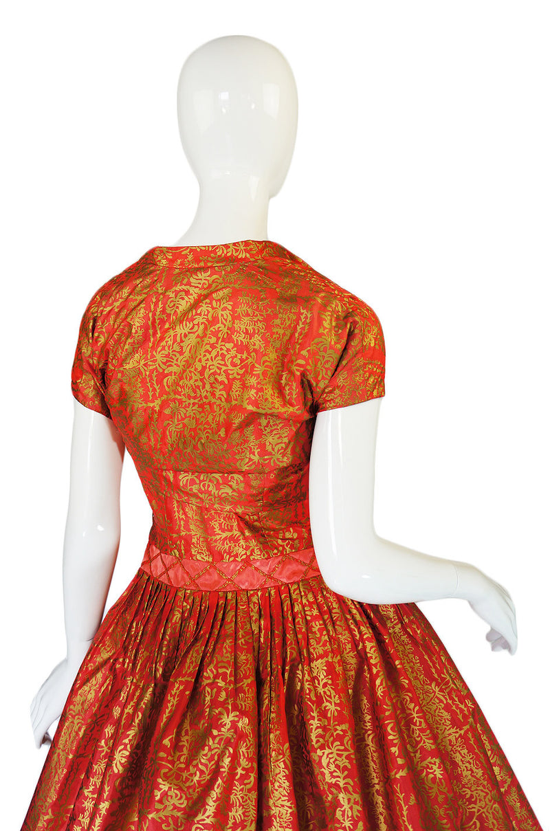 1950s Hand Painted Dance Dress & Shrug
