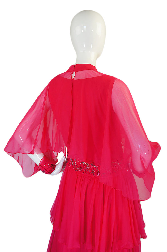 1960s Silk Chiffon Tiered Dress w Capelet