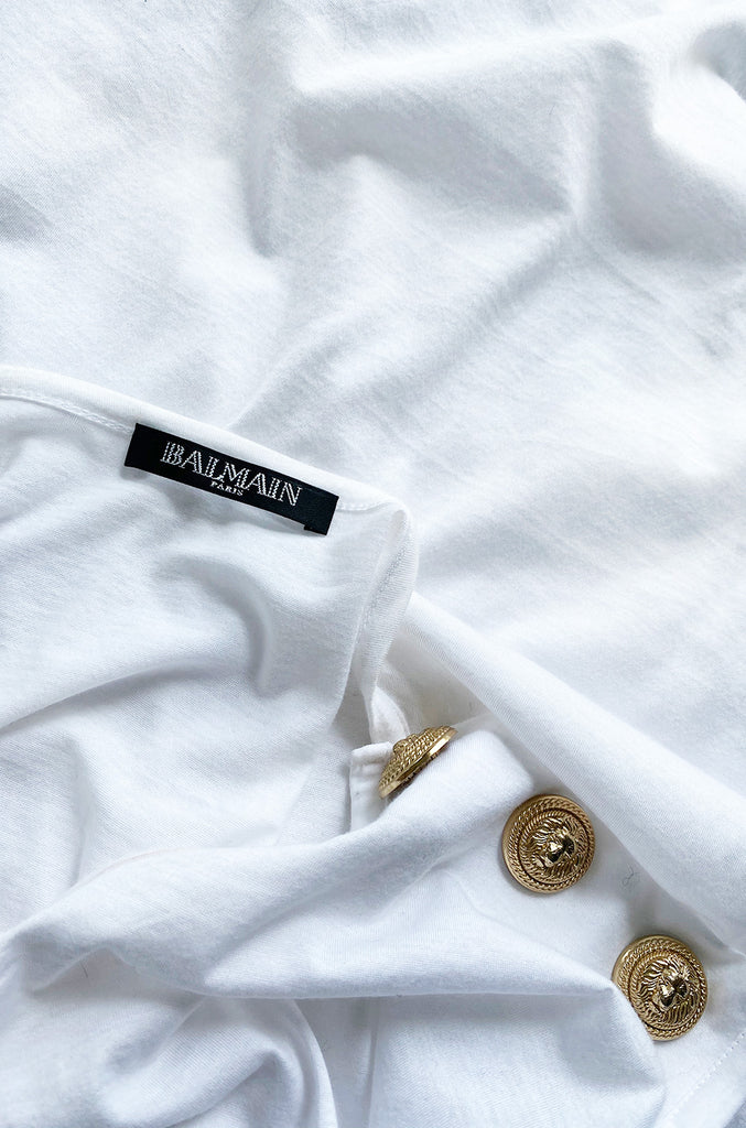 Recent Balmain Gold Logo Tee White T-Shirt with Gold Button Detailing