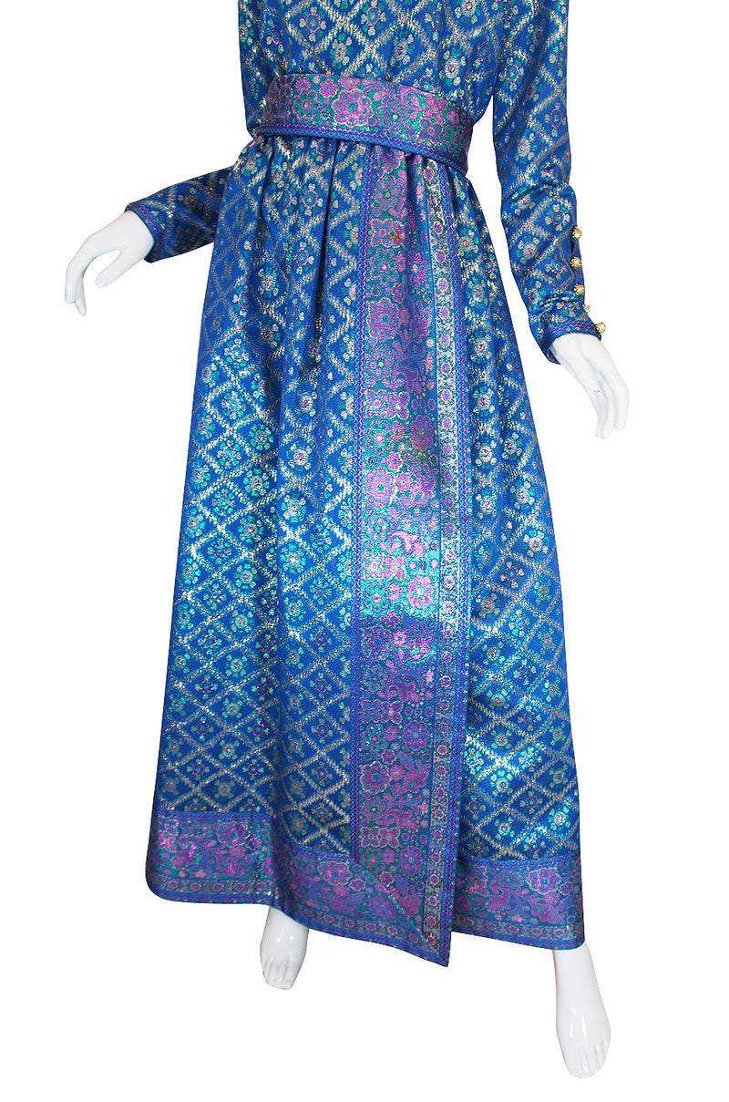 1970s Sari Inspired Oscar De La Renta Maxi Dress