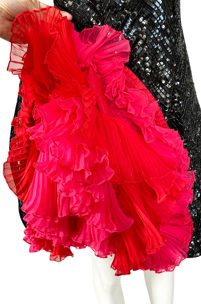 1980s Bob Mackie Bead & Sequin Dress w Pink & Red Can Can Underskirt