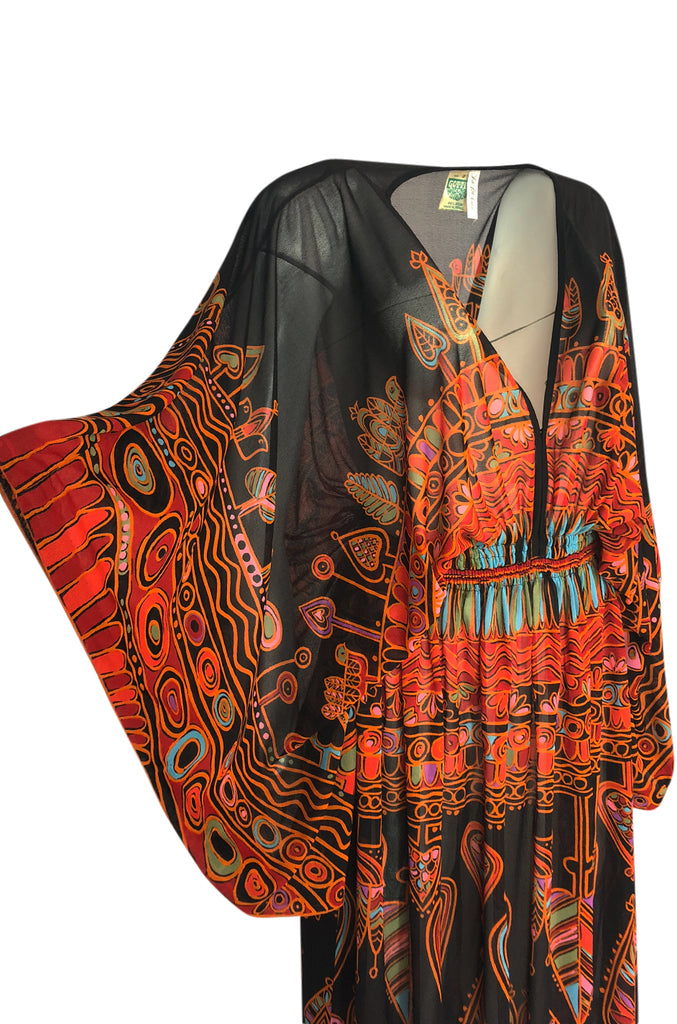 Incredible 1970s Gottex Plunging Light Print Nylon Caftan Dress