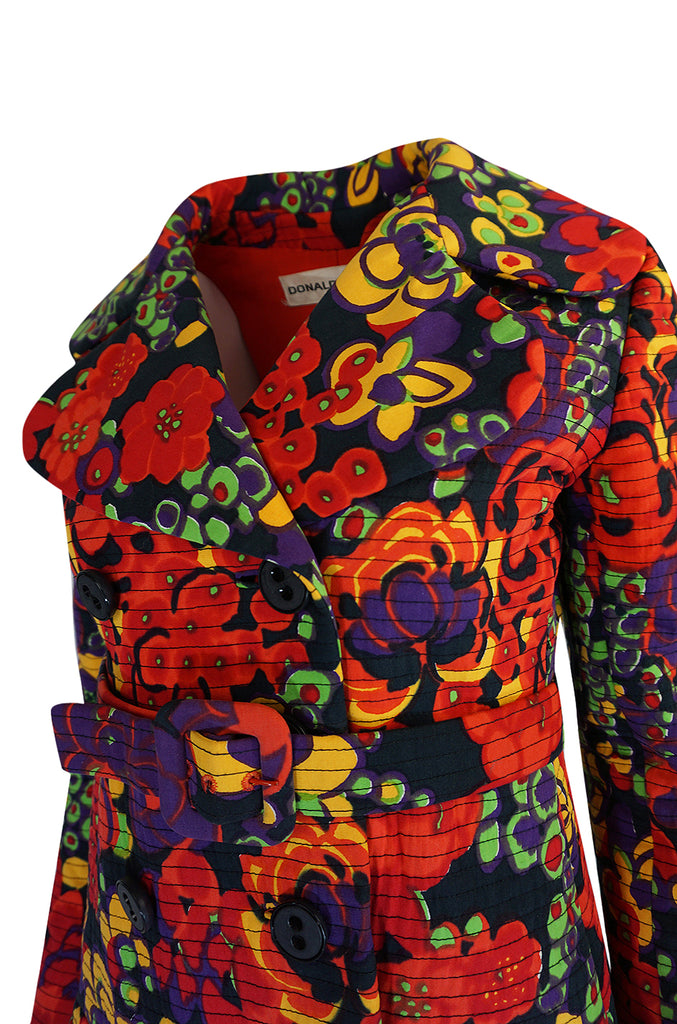 1960s Donald Brooks Fabulous Floral Print Top Stitched Coat