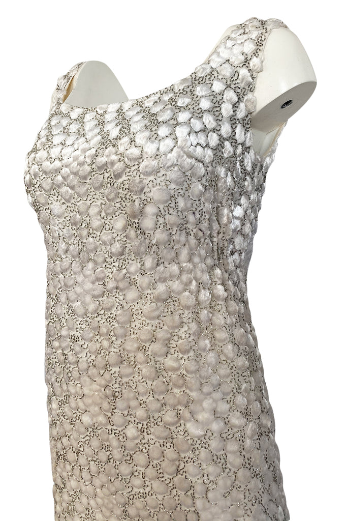 1960s Unlabeled Ivory Silk Dress w Chenille Applique & Beading Detail