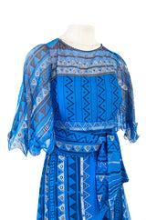1980s Zandra Rhodes Hand Painted Silver on Blue Silk Caftan Dress w Wrap Belt & Matching Scarf