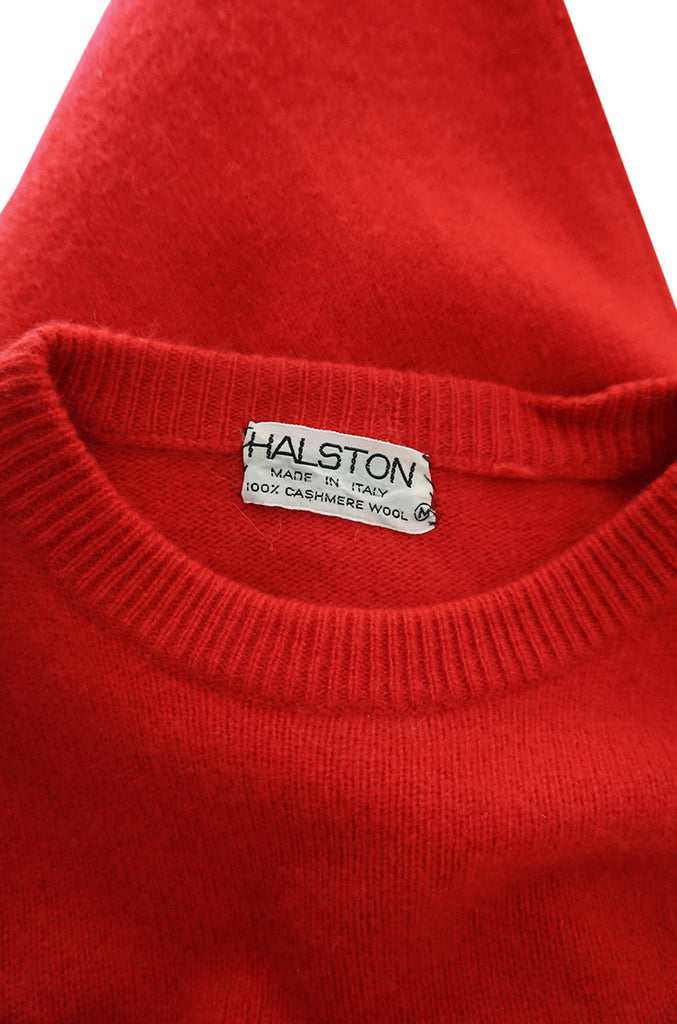 c1973 Halston Red 100% Cashmere Evening Dress