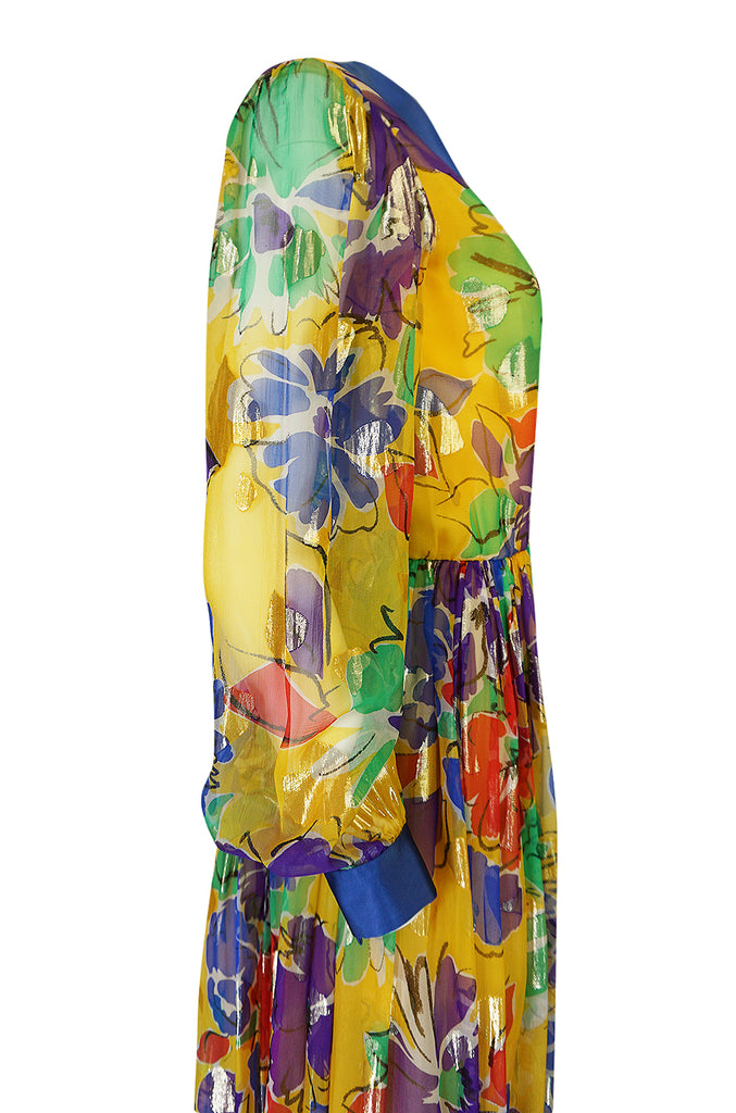 1970s Givenchy Silk Chiffon Floral & Metallic Heart Print Dress