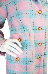 1996 Pastel Runway Chanel Coat w Cabochon Buttons
