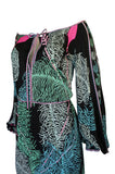 1960s Emilio Pucci Feather Print Off Shoulder Silk Jersey Dress