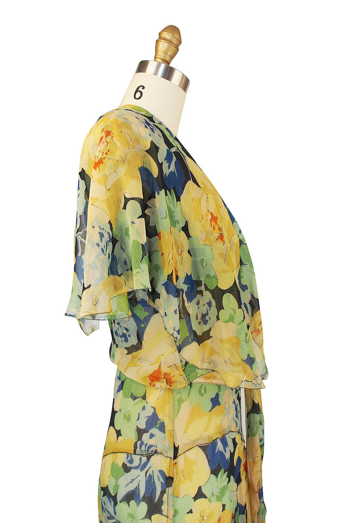 1920s Dreamy Silk Chiffon Dress & Capelet