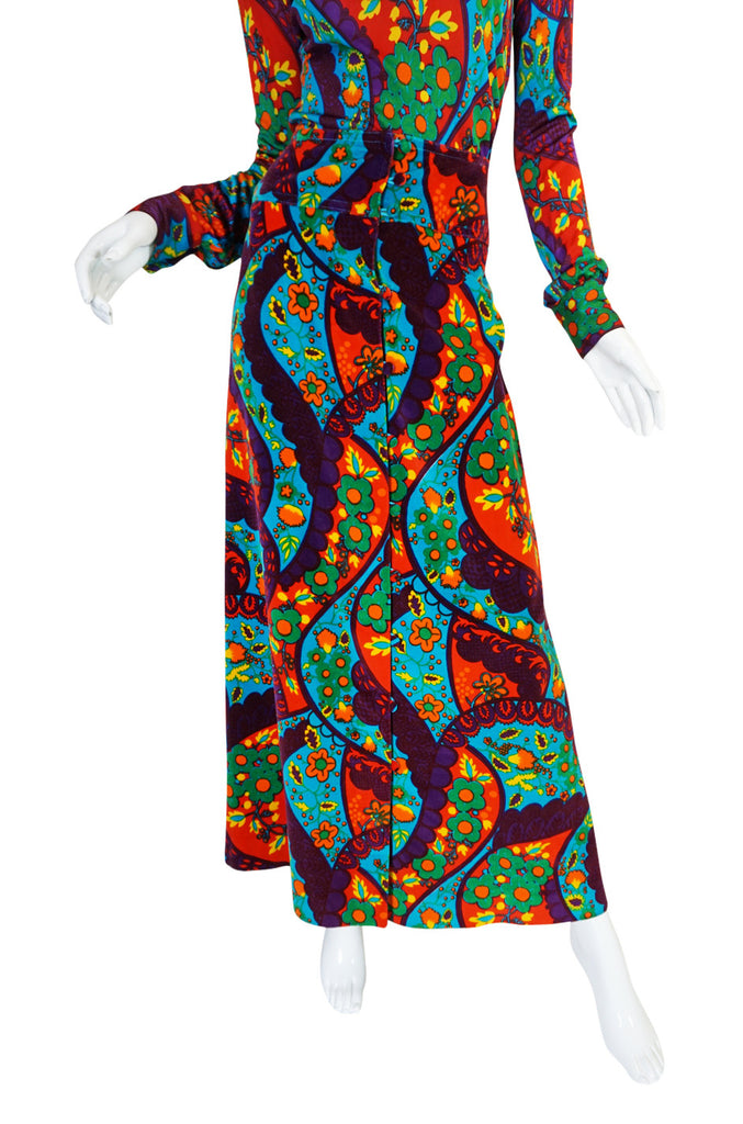 1970s Brilliant Print Velvet Skirt & Silk Turtleneck Set