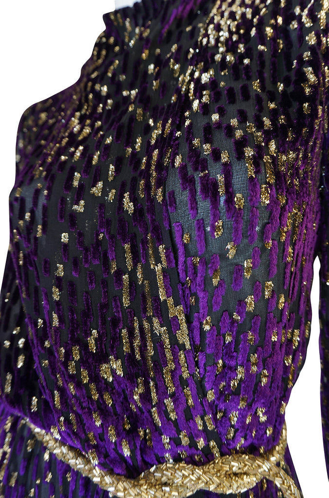 1970s Incredible Velvet Chiffon Lillie Rubin Dress