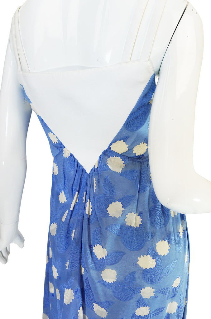 Rare 1970s Courreges Printed Blue Silk Chiffon Dress