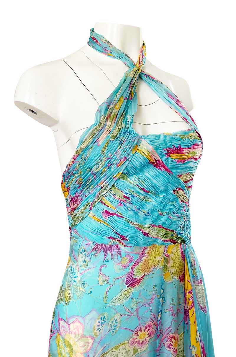 Spring 2004 Valentino Runway Pale Turquoise Silk Chiffin Print Dress